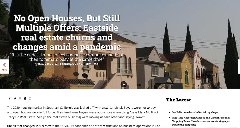 The Eastsider LA Talks to Tracy About Pandemic + Real Estate